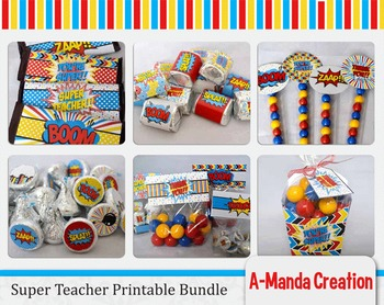 Super Teacher Super Hero Teacher & Staff Appreciation Printable Bundle