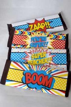 Super Teacher Super Hero Teacher & Staff Appreciation Printable Candy Bar Wraps
