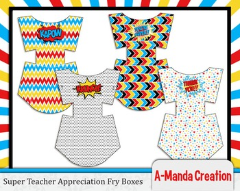 Super Teacher Super Hero Teacher & Staff Appreciation Printable Fry Boxes