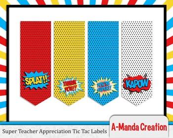 Super Teacher Super Hero Teacher & Staff Appreciation Printable Tic Tac Labels