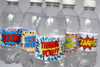 Super Teacher Super Hero Teacher & Staff Appreciation Printable Water Wraps