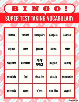 super test taking vocabulary bingo by word to the wise tpt. Black Bedroom Furniture Sets. Home Design Ideas