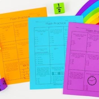 Third Grade Math Test Prep - Weekly Multiple Choice Tests
