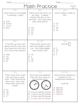 Third Grade Math Test Prep - Weekly Multiple Choice Tests