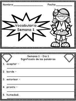 Super Trabajo de Vocabulario *1 Week SAMPLE*