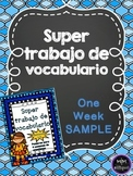 Super Trabajo de Vocabulario *1 Week SAMPLE*