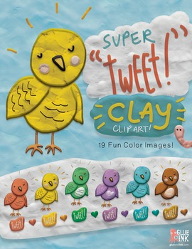 "Super ""Tweet!"" CLAY Bird Clip Art Set – Commercial-Use"