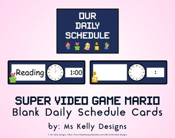 Super Video Game Mario Blank Daily Schedule Cards