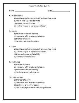 Super Vocabulary Quiz #1