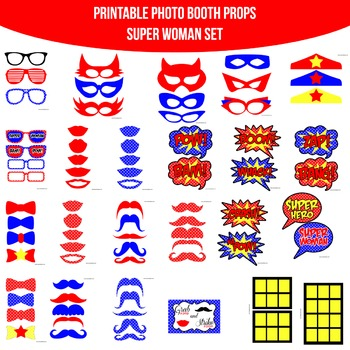 Super Woman Printable Photo Booth Prop Set