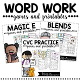 CVC Words Worksheets | Magic E | Blends Bundle