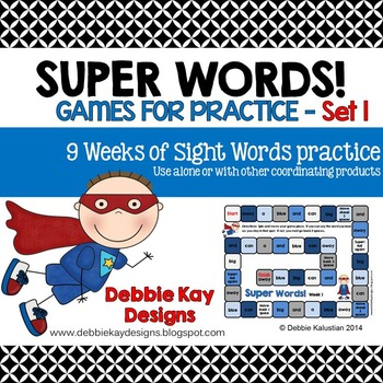 Super Words Games for Practice Set 1 (sight words practice)