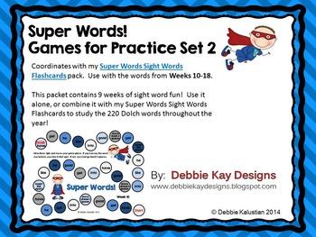Super Words Games for Practice Set 2 (sight words practice)