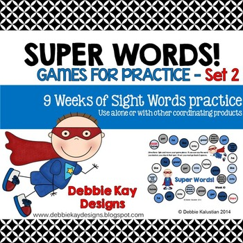 Super Words Games for Practice Set 2 (sight words practice)