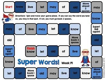 Super Words Games for Practice Set 3 (sight words practice)