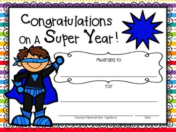 "End of Year Awards ""Super Heroes"" with Editable PPT File!"