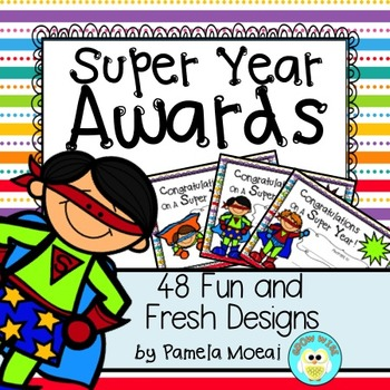 """End of Year Awards """"Super Heroes"""" with Editable PPT File!"""