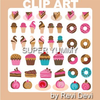Super Yummy clip art 07014 (teacher resource) ice cream, cupcake, donut, cake