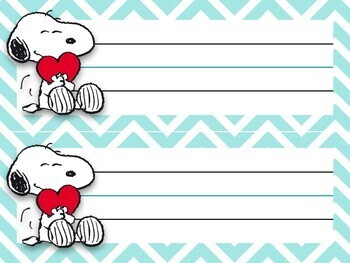 Super cute SNOOPY themed Name tags for desks, materials, etc.