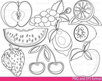 Super fruits Clip Art SCHOOL outline stamp coloring page line Print fruit -120-