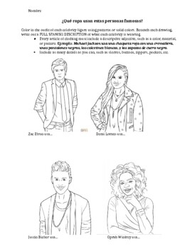 Super fun - Celebrity Clothing Coloring Assignment! (Spanish 1, 2, or 3)