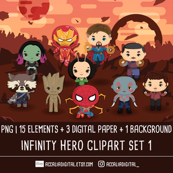Super hero Infinity Clip art set 1