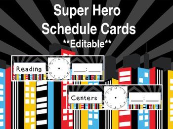Super hero: Schedule Cards