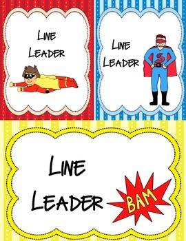Super hero Theme (Line Leader Tags)
