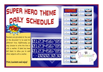 Super hero schedule timetable back to school cards