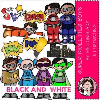 Super kidlette boys clip art - superheroes - BLACK AND WHITE- by Melonheadz