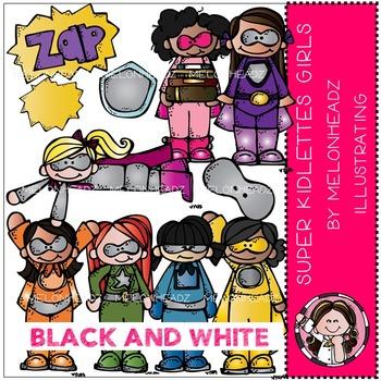 Super kidlette girls clip art - Superheroes - BLACK AND WHITE- by Melonheadz