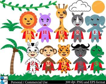 Super safari animals Digital Clip Art Graphics 16 images cod128