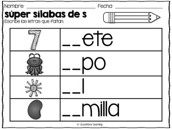 Súper sílabas – Spanish phonics activities for sa, se, si, so, su