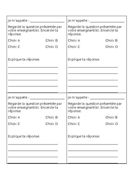 Super simple editable exit tickets in French!