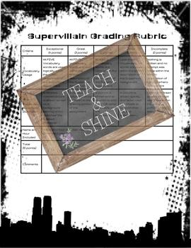 Super villain Vocabulary Assignment
