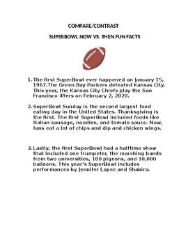 SuperBowl Then vs. Now Bilingual Compare/Contrast
