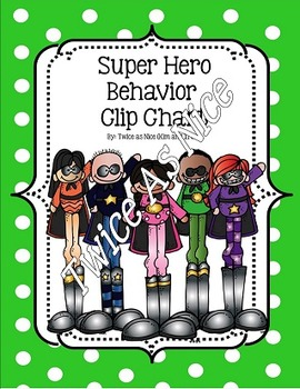 Superhero Behavior Clip Chart- English and Spanish