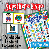 SuperHero Bingo Cards and Memory Game - Printable - Up to 30 players