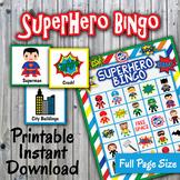 SuperHero Bingo Cards and Memory Game - Printable - Up to