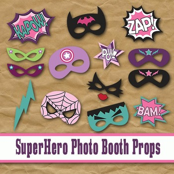 SuperHero Girls Photo Booth Props and Decorations - Printable
