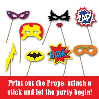 SuperHero Photo Booth Props and Decorations - Printable