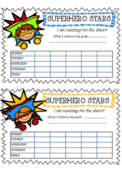 SuperHero Stars Reward Charts