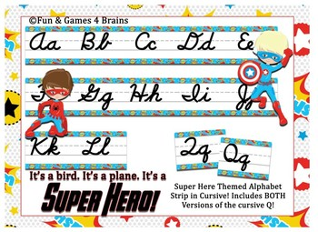 SuperHero Themed cursive alphabet strip