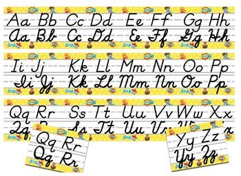 SuperHero Themed cursive and print alphabet strip