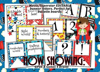 SuperStar (Movie) themed EDITABLE bulletin board banners
