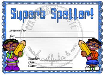Superb Speller Certificate