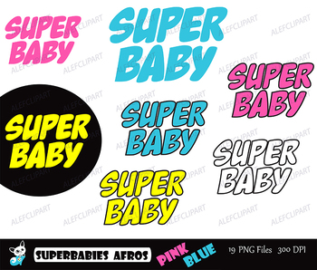 Superbabies clipart ,SuperBaby African american,Multicultural, Supergirls Afros.