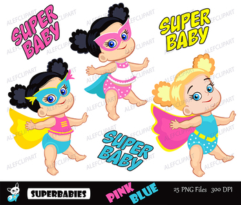 Superbabies clipart , SuperBaby Girls Clipart, for Personal and Commercial use .