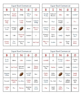 Superbowl 51 Commercial Bingo
