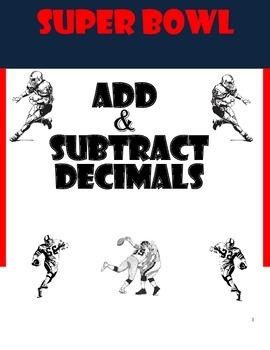 Super Bowl Adding and Subtracting Decimals Worksheets